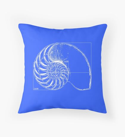 Fibonacci on a nautilus shell (blue) Throw Pillow