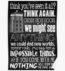 Inspired by The Doctor - Best Doctor Quotes - Typography Design - Never Be the Same Again Quote Poster