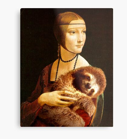 Lady with a Sloth Metal Print