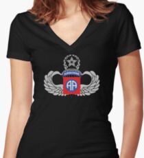 82nd Airborne Master Jump Wings Women's Fitted V-Neck T-Shirt