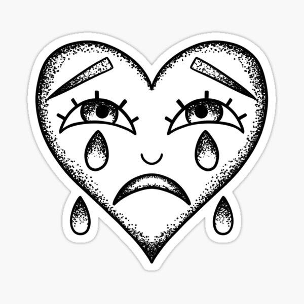 Please Scream Inside Your Heart black heart tattoo styled stickers