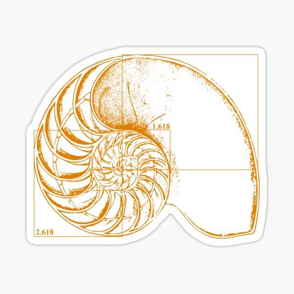 Fibonacci on a nautilus shell (orange) Sticker