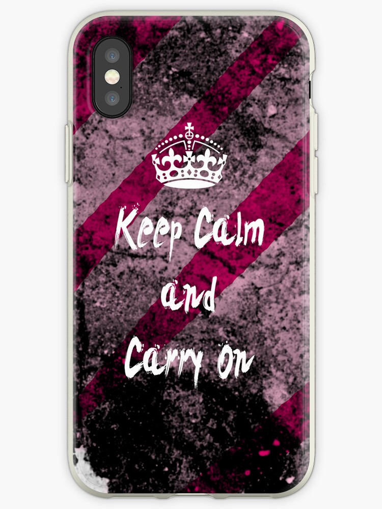 Keep Calm and Carry On Grunge iPhone Case by Jessica Zimmerman