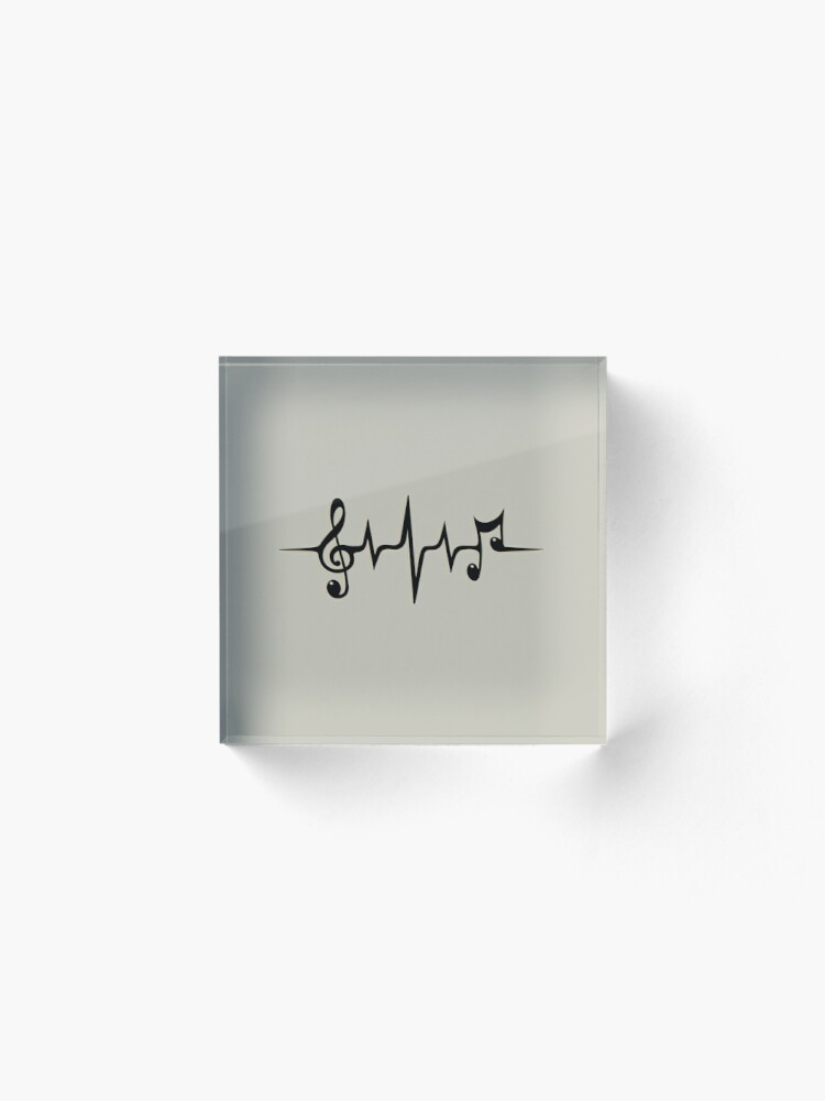 Alternate view of Music Pulse Heartbeat Notes Clef Frequency Wave Sound Festival  Acrylic Block