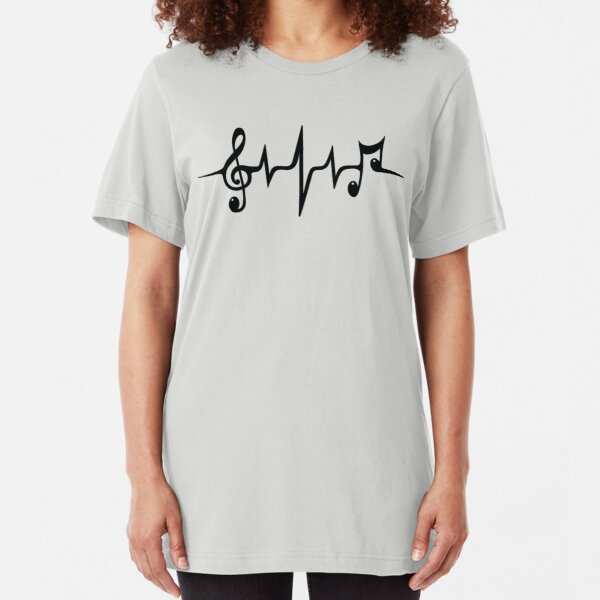 Music Pulse Heartbeat Notes Clef Frequency Wave Sound Festival  Slim Fit T-Shirt
