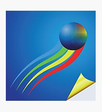 blue background and color sphere Photographic Print