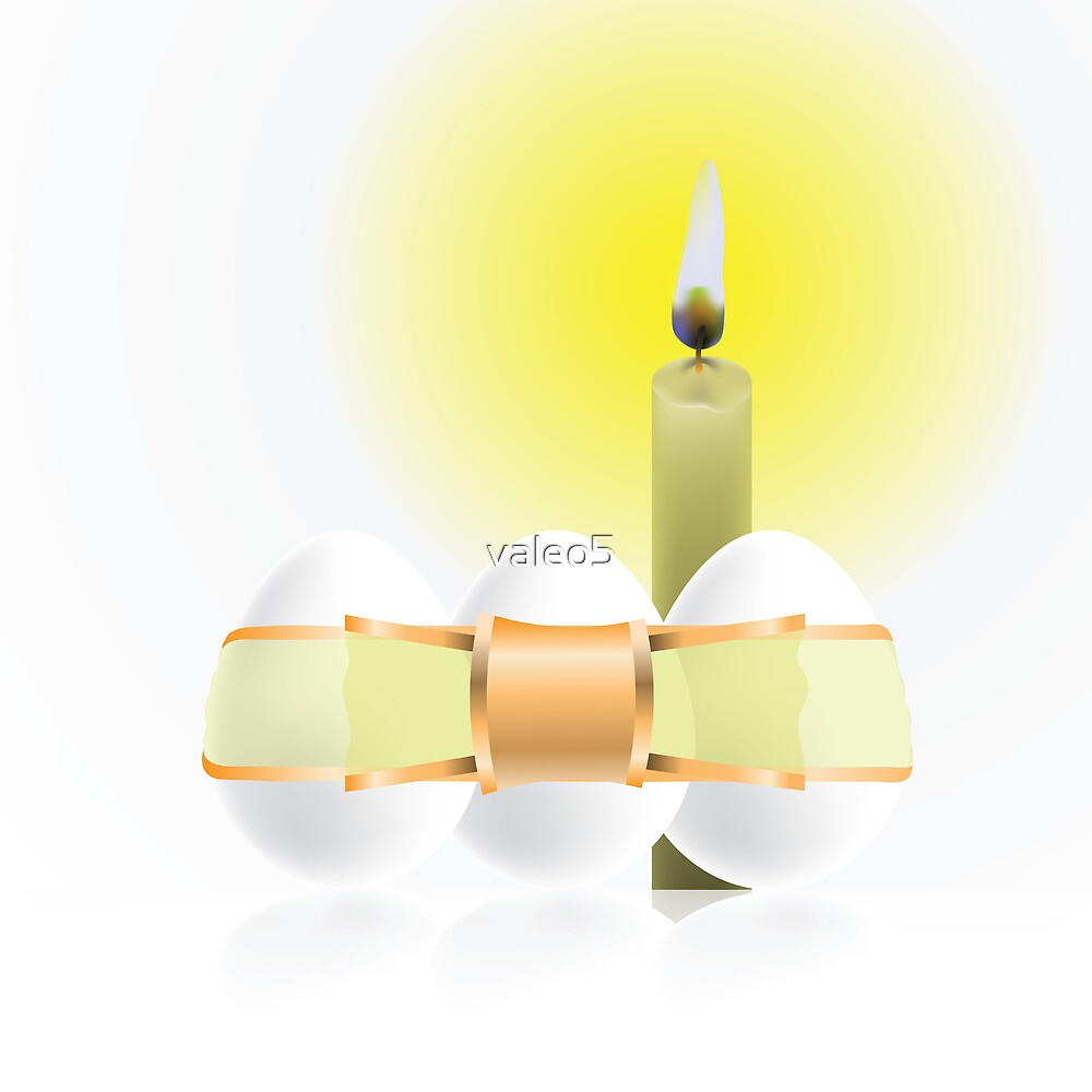 easter eggs and candle by valeo5