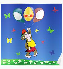 monkey and easter eggs balloons Poster