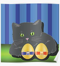 cat and two easter eggs Poster