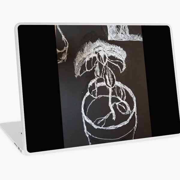 Black and withe plant Laptop Skin