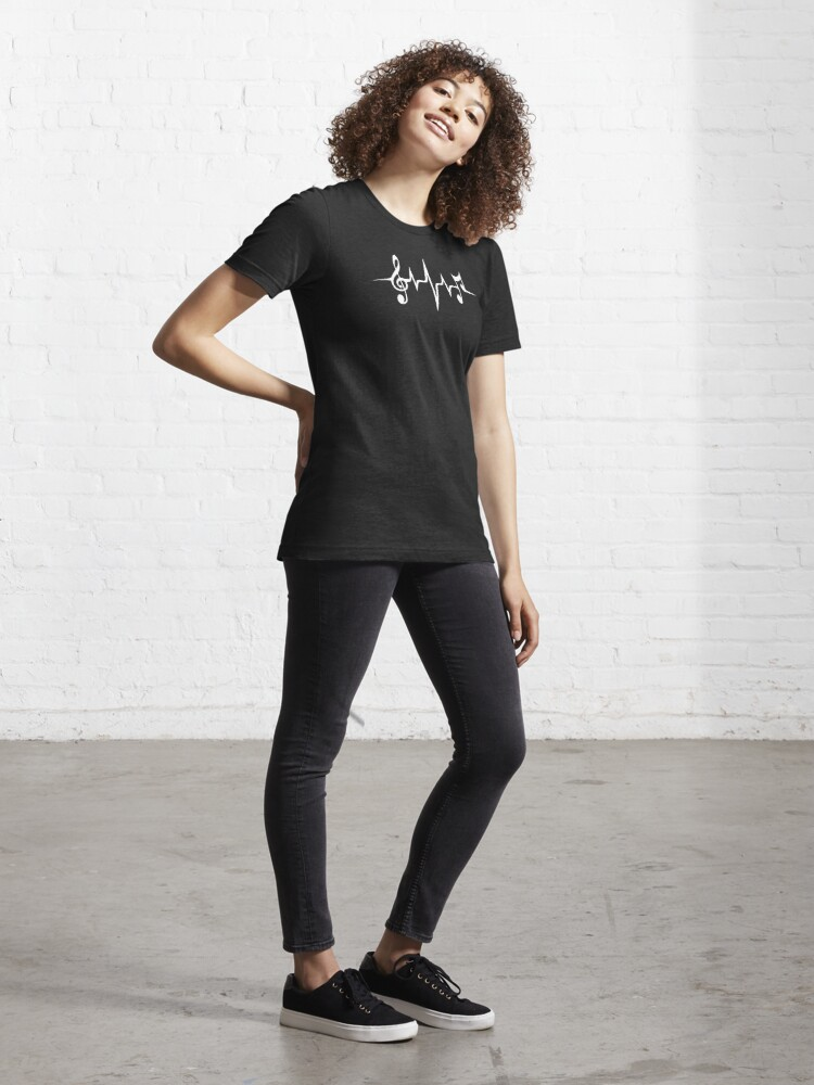 Alternate view of Music Pulse, Notes, Clef, Frequency, Wave, Sound, Dance Essential T-Shirt