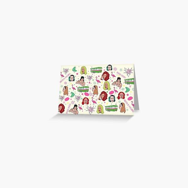 Punk Flamingos Pattern Greeting Card