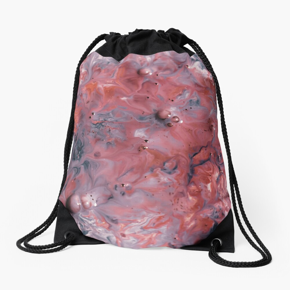 melted colors red and blue 2 Drawstring Bag