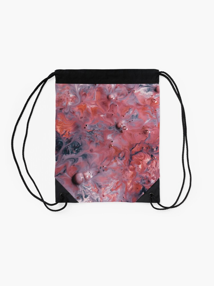 Alternate view of melted colors red and blue 2 Drawstring Bag