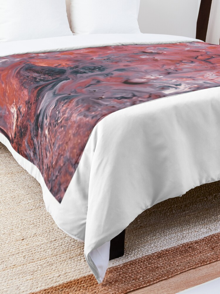 Alternate view of melted colors red and blue 2 Comforter