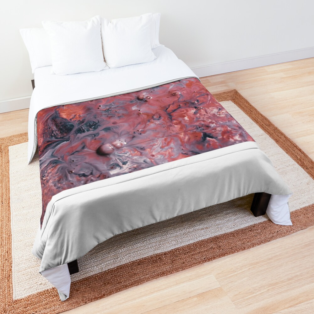 melted colors red and blue 2 Comforter