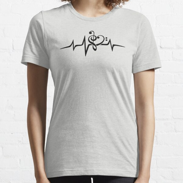 MUSIC HEART PULSE, Love, Music, Bass Clef, Treble Clef, Classic, Dance, Electro Essential T-Shirt