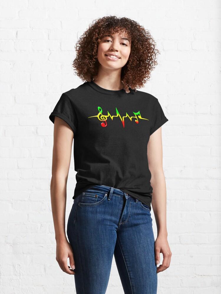 Alternative Ansicht von Music Pulse, Reggae, Sound Wave, Rastafari, Jah, Jamaica, Rasta Classic T-Shirt