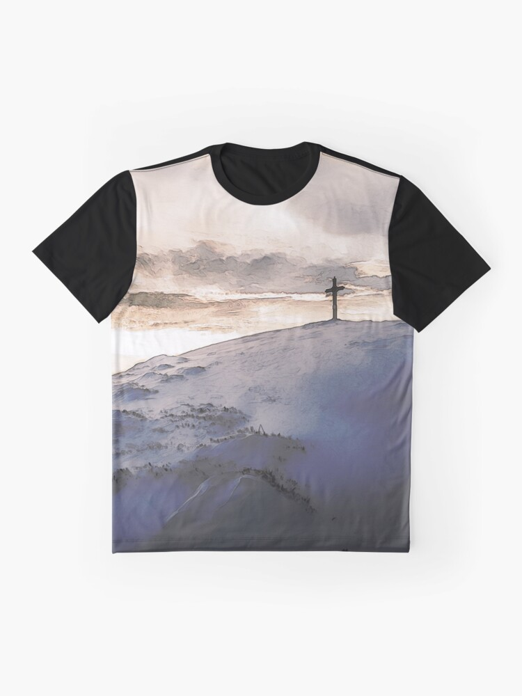 Alternate view of Christian Cross On Mountain Graphic T-Shirt