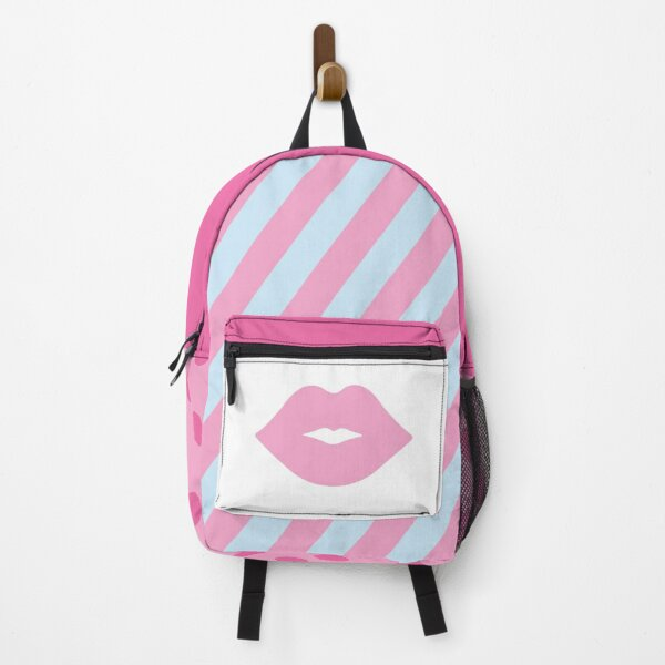Pink Pastel Lips with Blue Stripes Backpack