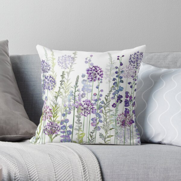 Purple Flower Meadow - Alliums, Delphiniums & Veronica Gentianoides Throw Pillow