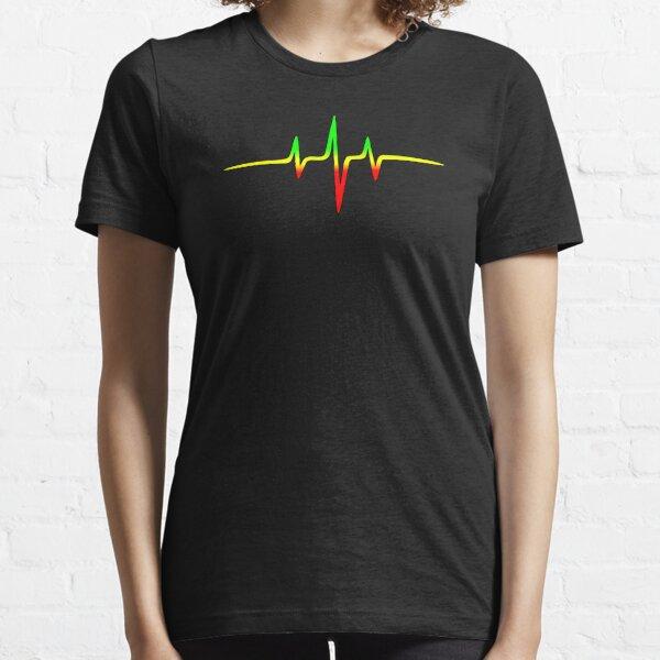 Music Pulse, Reggae, Heartbeat, Rastafari, Jah, Jamaica, Rasta Essential T-Shirt