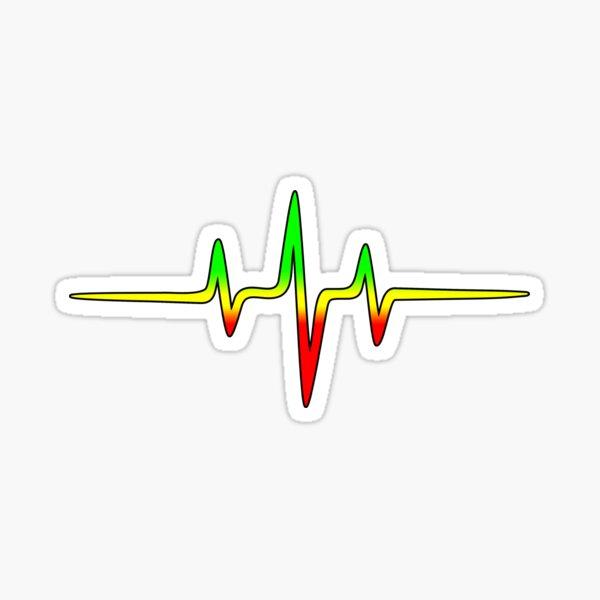 Music Pulse, Reggae, Heartbeat, Rastafari, Jah, Jamaica, Rasta Sticker