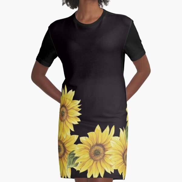 SUNFLOWERS ON BLACK Graphic T-Shirt Dress