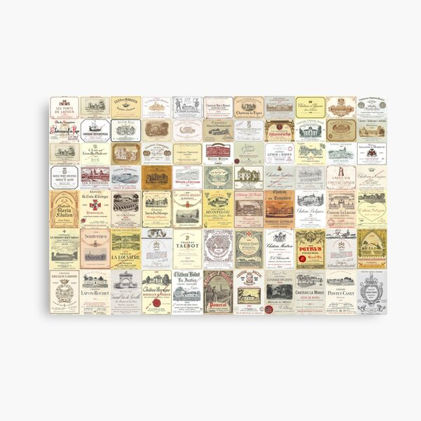 Famous French wine labels collage: vintages from Bordeaux/Rhone Canvas Print