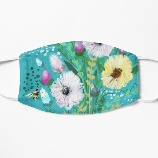 Turquoise flower Meadow  Flat Mask