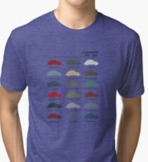Vintage VW Beetle 60's original car colours Tri-blend T-Shirt