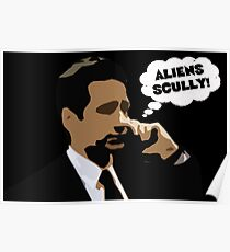 """X-Files Mulder """"Aliens Scully"""" Poster"""