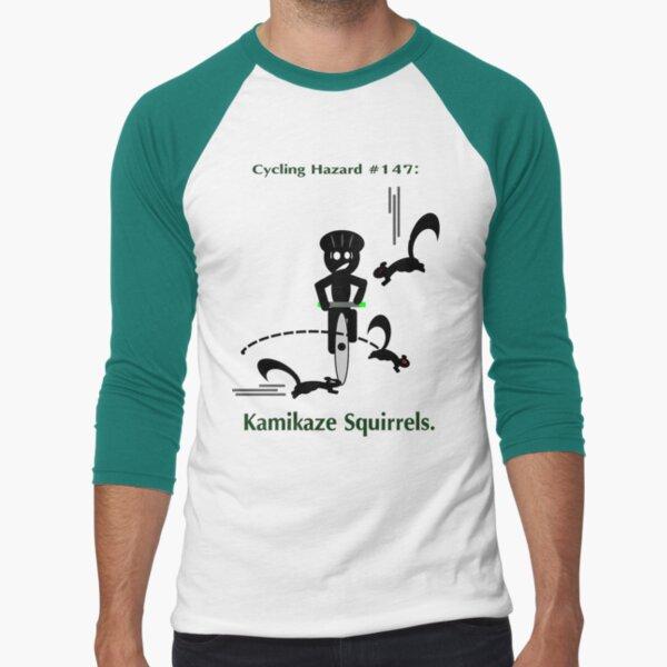 Cycling Hazards - Kamikaze Squirrels Baseball ¾ Sleeve T-Shirt