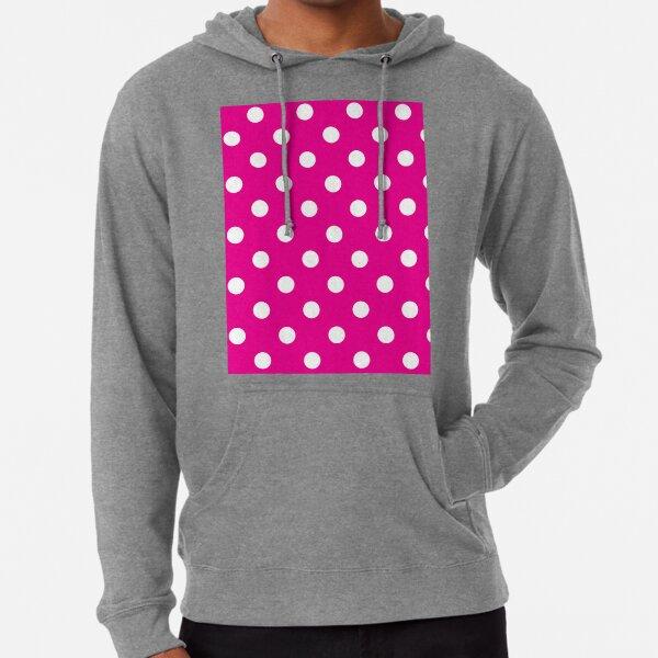 Bright Pink Polka Dots - Classic Retro Fashion Lightweight Hoodie