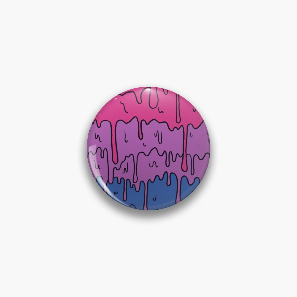 Pastel Kawaii Melting Bisexual Pride LGBTQ Design Pin