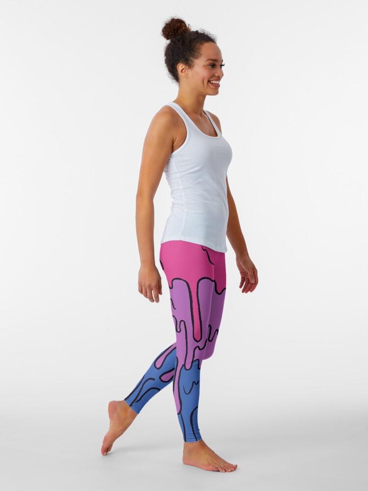 Alternate view of Pastel Kawaii Melting Bisexual Pride LGBTQ Design Leggings