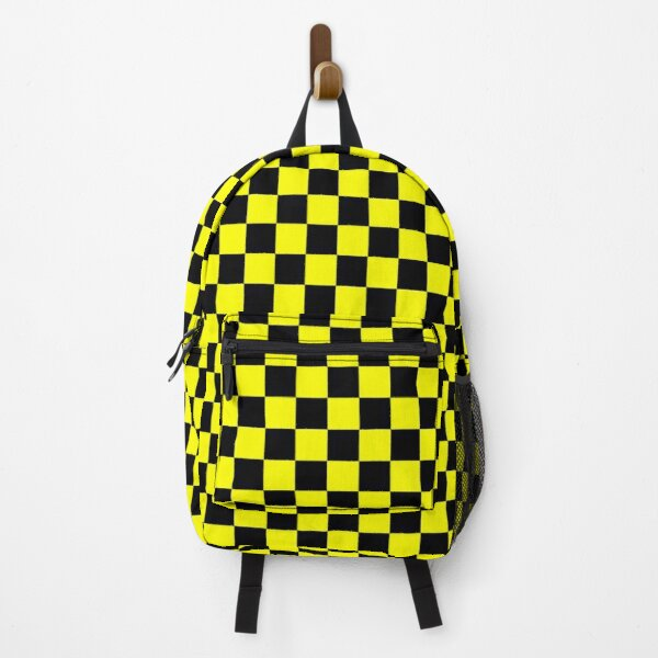 Bright Fluorescent Yellow Neon and Black Checked Checkerboard Backpack