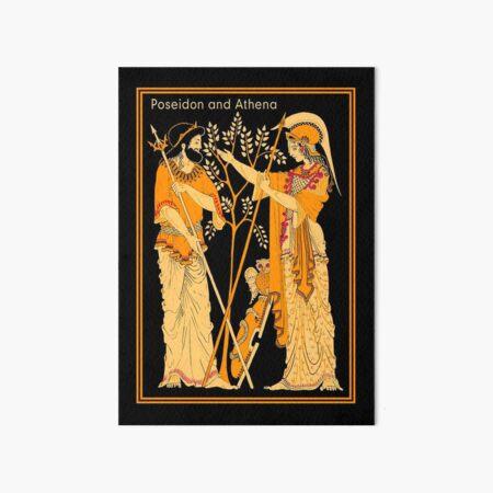 POSEIDON and ATHENA : Vintage Greek God and Goddess Print Art Board Print