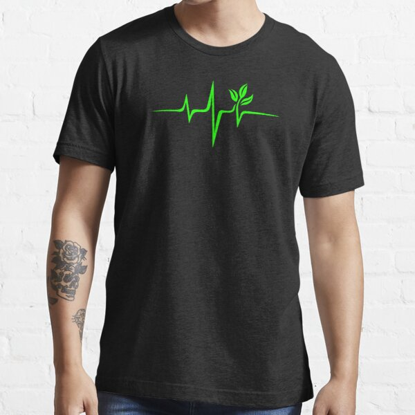 Heartbeat, Pulse Green, Vegan, Frequency, Wave, Earth, Planet Essential T-Shirt
