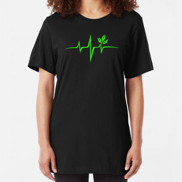 Heartbeat, Pulse Green, Vegan, Frequency, Wave, Earth, Planet Slim Fit T-Shirt