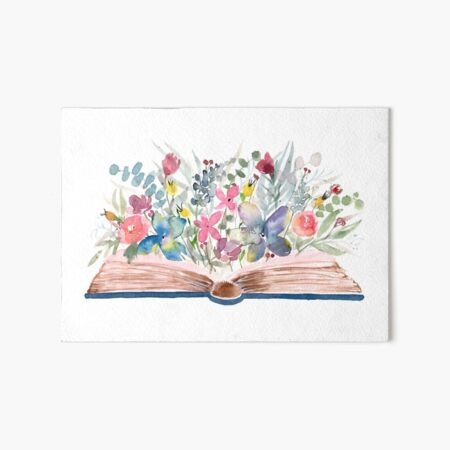 Watercolor Open Book with Florals Art Board Print
