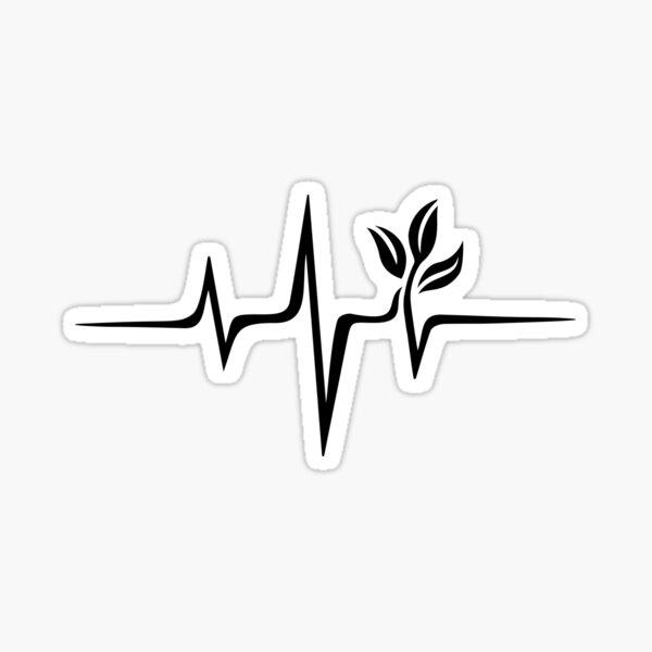 Heartbeat, Pulse Green, Vegan, Frequency, Wave, Earth, Planet Sticker