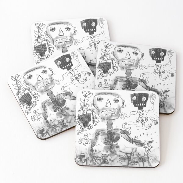 Unshaven Man with Skeleton Coasters (Set of 4)