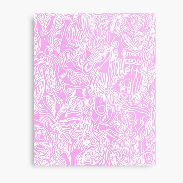 The Garden of Delights (white on pink) Metal Print
