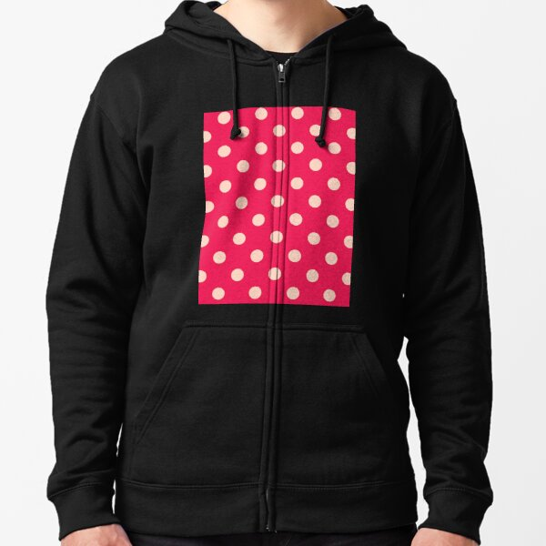 Pink Polka Dots - Classic Retro Fashion Zipped Hoodie