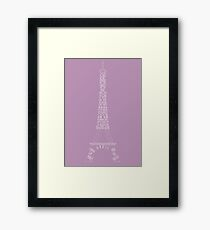 'Wordy Structures' Eiffel Tower Purple Framed Print