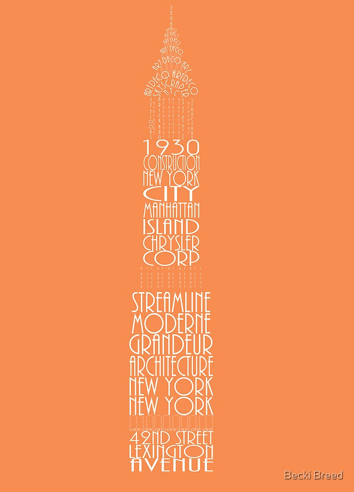 'Wordy Structures' Chrysler Building Orange by Becki Breed