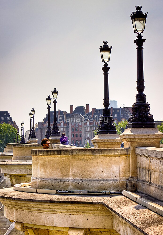 Chilling to music on the Ponte Neuf in Paris by Elana Bailey