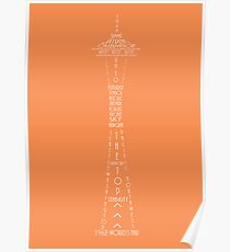 'Wordy Structures' Space Needle Orange Poster