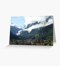 Cloudy Alp Village Greeting Card